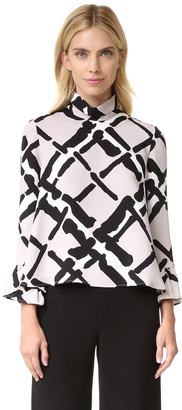 Derek Lam Fold Over Collar Blouse $995 thestylecure.com