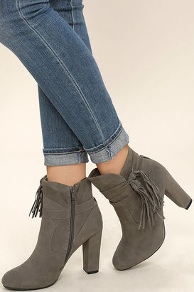 Effie Taupe Suede Ankle Booties $42 thestylecure.com