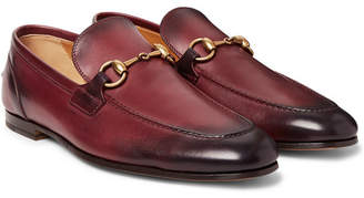 Gucci Horsebit Burnished-Leather Loafers - Red