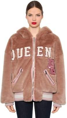 Dolce & Gabbana Bear Hood Faux Fur Bomber Jacket