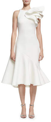 Jovani Full Skirt Neoprene Bow-Shoulder Cocktail Dress