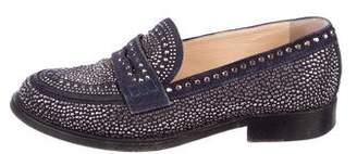 Valentino Stud-Embellished Suede Loafers