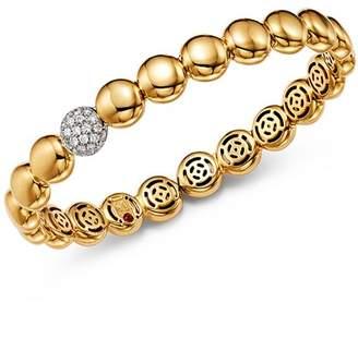 Roberto Coin 18K White & Yellow Gold Pavé Diamond Disc Bracelet