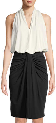Donna Karan Colorblocked Draped-Front Sleeveless Dress