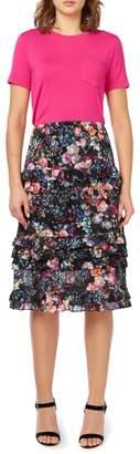 Nicole Miller New York Floral Ruffled Midi Skirt