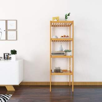 YallStore 2018 New 4 Tiers Natural Bamboo Rack Storage Shelf Unit for Toiletries/Bathroom/Living Room/Balcony/Kitchen,Anti-Slip Anti-Scratch and Round Corner Design Protect Your Baby