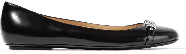 Moschino Moschino Embellished glossed-leather ballet flats