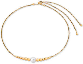 "Majorica Gold-Tone Bead & Imitation Pearl 4-1/3"" Slider Necklace"