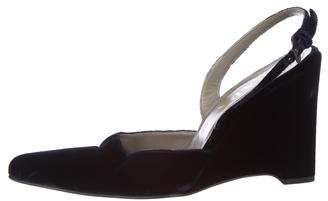 Prada Velvet Semi-Pointed Toe Wedges