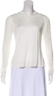 Nina Ricci Semi-Sheer Lace-Trimmed Top