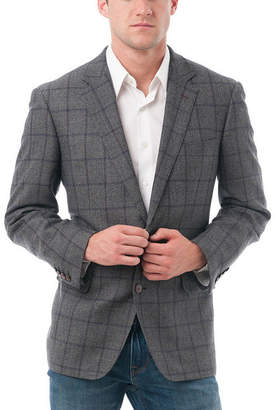 VERNO Men's Windowpane Wool Classic-Fit BlazerVerno Pattern Suit Jacket