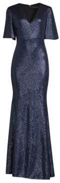 Rachel Zoe Heather Flutter Sleeve Sequin Gown