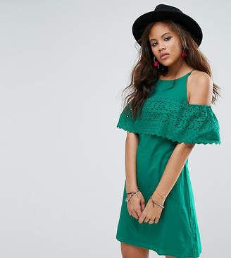 Asos Tall TALL Broderie Cold Shoulder mini sundress