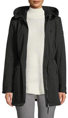 Iconic American Designer Faux-Fur Hood Soft-shell Anorak Jacket