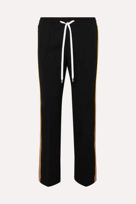 Miu Miu Striped Stretch-jersey Track Pants - Black