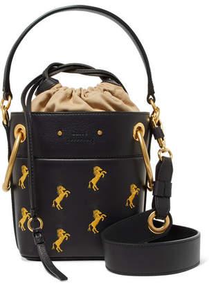 Chloé Roy Mini Embroidered Leather Bucket Bag - Midnight blue