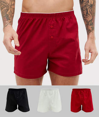 Asos DESIGN woven boxer in red & black & gray 3 pack
