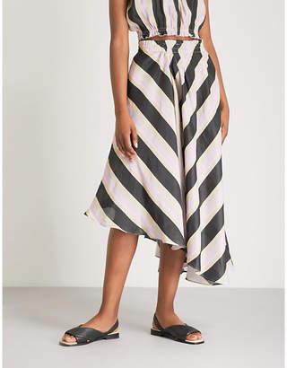 Apiece Apart Turkanna striped silk and linen-blend midi skirt