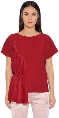 MM6 MAISON MARGIELA Fluid Viscose Top With Draped Panel
