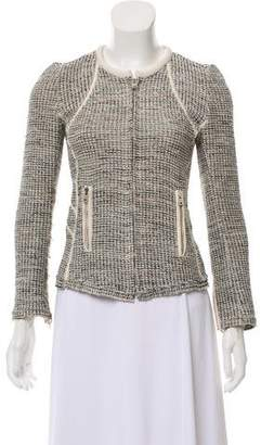 IRO Leather-Trimmed Collarless Jacket