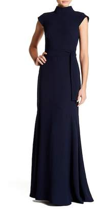 ML Monique Lhuillier Backless Mock Neck Gown