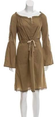 CNC Costume National Woven Long Sleeve Dress Beige Woven Long Sleeve Dress