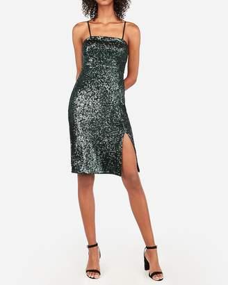 Express Sequin Strapless Front Slit Sheath Dress