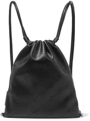Stella McCartney Perforated Faux Leather Backpack - Black