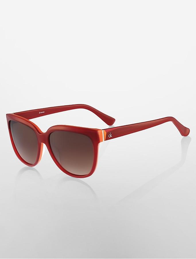 Calvin KleinCat Eye Colorblock Sunglasses