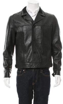 Saint Laurent Leather Notch-Lapel Jacket
