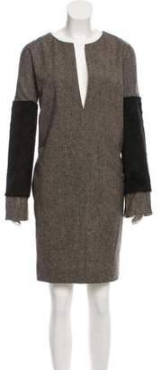 Veronique Branquinho Faux Fur-Trimmed Wool Dress w/ Tags