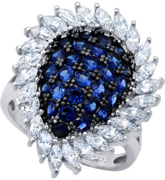 Crislu Midnight Platinum Over Silver Cz Ring