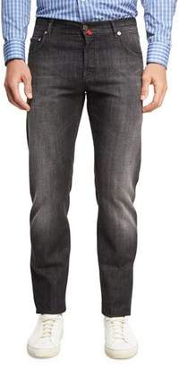 Kiton Washed Denim Straight-Leg Jeans