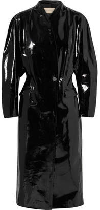 Christopher Kane Crinkled Patent-leather Coat - Black