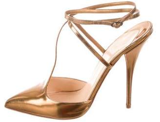 Christian Louboutin Metallic T-Strap Pumps