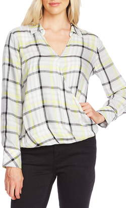 Vince Camuto Plaid Highlight Wrap Front Top