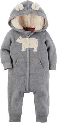 Carter's Baby Boys Fleece Hooded Romper Jumpsuit