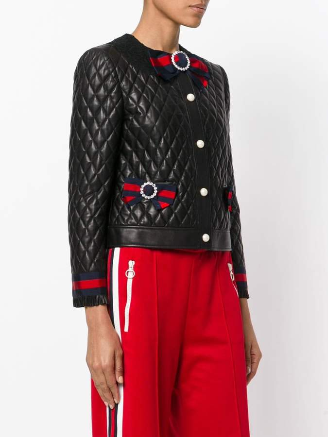 Gucci Quilted jacket with Web bows - ShopStyle Leather : gucci quilted jacket - Adamdwight.com