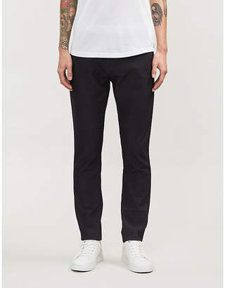 Emporio Armani Slim-fit tapered cotton-blend trousers