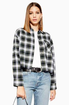 Topshop Womens Petite Cropped Check Shirt