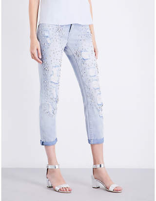 True Religion Ladies New City Embellished Glamour Slim-Fit High-Rise Jeans $340 thestylecure.com