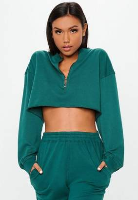 Missguided Teal Boxy Cropped Zip Front Sweatshirt