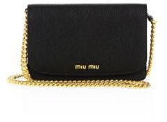 Miu Miu Miu Miu Madras Metallic Leather Chain Wallet