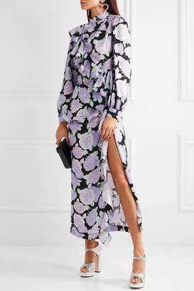 Miu Miu Crystal-embellished Ruffled Floral-print Silk-jacquard Maxi Dress - Lilac