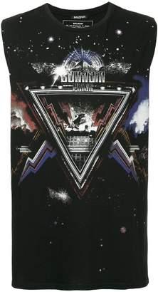 Balmain logo planet print vest top