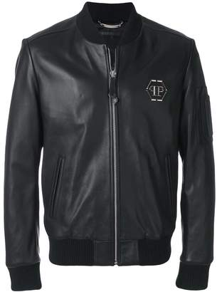 Philipp Plein leather bomber jacket