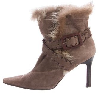 Christian Louboutin Christian Louboutin Fur-Trimmed Pointed-Toe Boots
