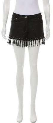 Saylor Mid-Rise Fringe-Accented Shorts