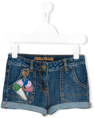 Zadig & Voltaire Kids ice cream appliqué denim shorts
