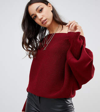 Asos Tall DESIGN Tall off shoulder sweater in ripple stitch